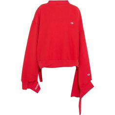 Vetements + Champion In Progress oversized cotton-blend top ($755) ❤ liked on Polyvore featuring tops, jumpers/sweaters, sweaters, sweatshirt, cutout tops, oversized tops, red top and cut-out tops