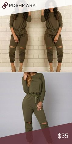 FASHION NOVA Olive Green Sweat suit Olive Green Sweat jumpsuit, New with tags. Has drawstring waist and slits at knees. Fashion Nova Pants Jumpsuits & Rompers