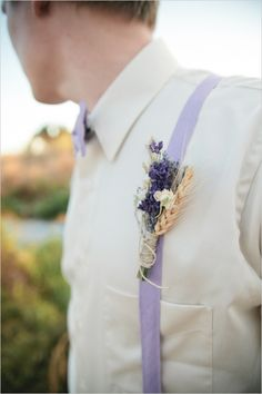 rustic lavender and wheat boutonniere with light purple bowtie and suspenders