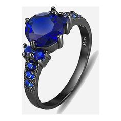 Blue Sapphire Lady's Engagement Wedding Ring ($216) ❤ liked on Polyvore featuring jewelry, rings, round cut rings, blue sapphire ring, engagement rings, blue sapphire engagement rings and blue sapphire jewelry