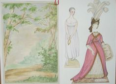 John Darcy Noble's 1790s-style folio paper doll set.  She came complete with a backdrop to pose in front of.