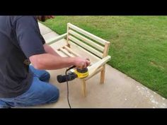 Project - How to make a park bench with a reclined seat out of 8 - 2x4's - YouTube