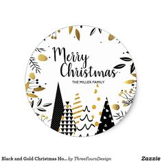 Black and Gold Christmas Holiday Classic Round Sticker - christmas stickers xmas eve custom holiday merry christmas Christmas Trends, Christmas Quotes, Gold Christmas, Christmas Greetings, Christmas Holidays, Christmas Crafts, Merry Christmas, Christmas Carnival, Illustration Noel