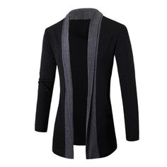 2016 Hot England Gentlemen Stylish Men Fashion Knitted Cardigan Jacket Slim Casual Long Sleeve Patchwork Mid-Long Sweaters Coat