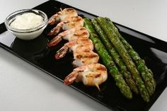Grilled Shrimps with asparagus. Delicate and simple.