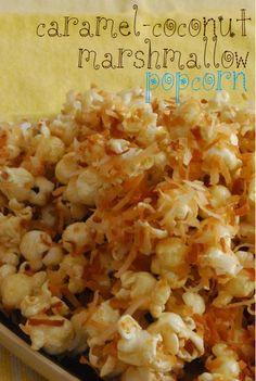 Top 10 Popcorn Recipes: Caramel-Coconut Marshmallow Popcorn, looks yummy! Mines the coconut Popcorn Toppings, Popcorn Snacks, Flavored Popcorn, Gourmet Popcorn, Popcorn Recipes, Snack Recipes, Cooking Recipes, Popcorn Bar, Party Recipes