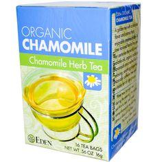 Eden Foods, Organic, Chamomile Herb Tea, 16 Tea Bags, .56 oz (16 g) - iHerb.com. Bruk gjerne rabattkoden min (CEC956) hvis du vil handle på iHerb for første gang. Da får du $5 i rabatt på din første ordre (eller $10 om du handler for over $40), og jeg blir kjempeglad, siden jeg får poeng som jeg kan handle for på iHerb. :-)