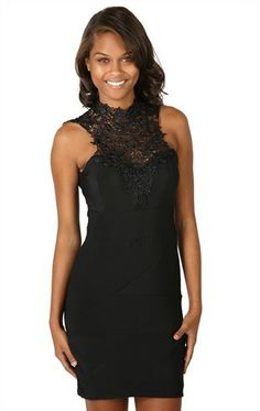 Black Bodycon Dress with Crochet Mock Neck and Bow Back