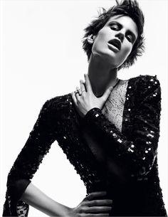 Saskia stuns in Armani Privé for German Vogue.    Photo by Daniel Jackson