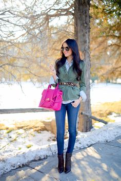 I love this green jacket with leopard print belt.