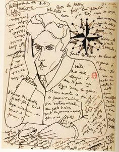 Self-Portrait by Jean Cocteau in a letter to Paul Valéry,October 1924  From Belles Lettres: Manuscripts Of The Masters Of French Literature, Roselyne de Ayala and Jean-Pierre Guéno