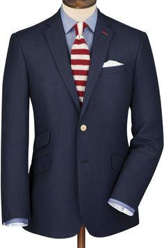 Charles Tyrwhitt Navy wool linen slim fit summer blazer - ShopStyle