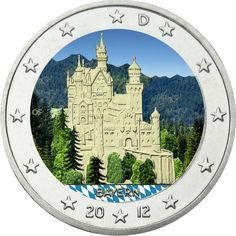 """Deutschland 2 Euro """"Bayern - Neuschwanstein"""" unc farbig in KAPSEL 2012"""