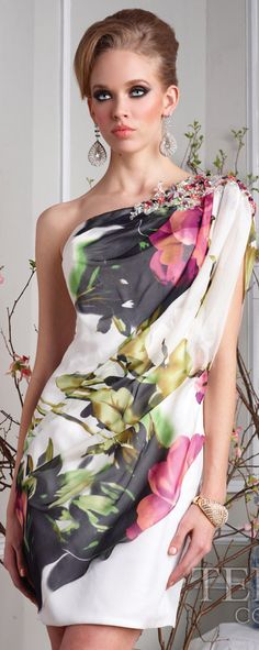Beautiful floral one shoulder dress Terani ❀
