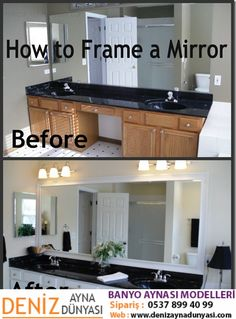 House Of Grace: How To Frame A Mirror. Master And Guest Bathrooms