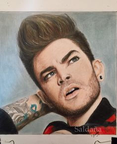 Adam Lambert drawing Prismacolor on Strathmore 300 smooth by T Saldana