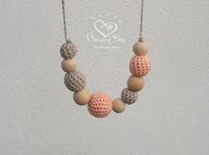 Organic Nursing Necklace Pale Pink Grey Teether от AmazingDay