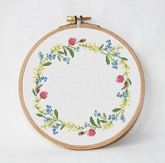 flowers cross stitch pattern Wildflowers floral wreath cross