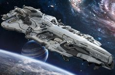 Battle cruiser orbiting a planet, #spaceopera #scifi inspiration