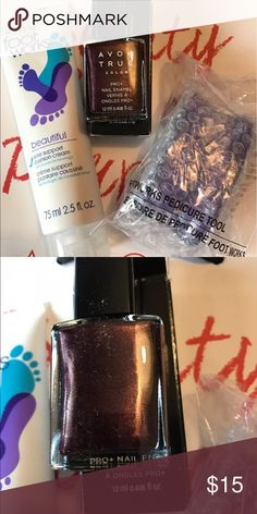Pedi pack Foot works foot cream, foot scrubber and purple nail polish to finish your pedi. All Avon products. Avon Makeup Brushes & Tools