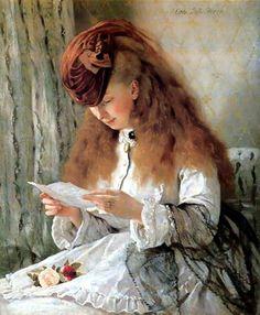 1 Otto Franz Scholderer (German painter, 1834-1902) Girl Reading a Letter.jpg