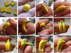 Picture tutorial on making polymer clay miniature bananas! 2019 Picture tutorial on making polymer clay miniature bananas! The post Picture tutorial on making polymer clay miniature bananas! 2019 appeared first on Clay ideas. Polymer Clay Miniatures, Fimo Clay, Polymer Clay Charms, Polymer Clay Cake, Clay Projects, Clay Crafts, Fondant Tutorial, Fondant Bow, Fondant Flowers