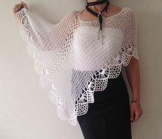 White bridal shawl Wedding poncho shawl cape bolero by Mrlworks