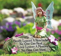 NEW MEMORIAL GARDEN FAUX STONE w/ FAIRY FLOWERS POEM YARD CEMETERY DECOR