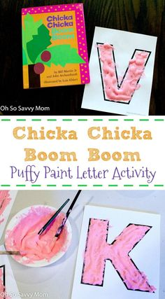 This fun Chicka Chicka Boom Boom letter activity with puffy paint gets preschool and kindergarten age kids excited about learning their letters! Included are free letter printables! Educational Activities For Kids, Letter Activities, Toddler Activities, Kids Learning, Learning Time, Learning Styles, Learning Activities, Preschool Books, Preschool Crafts