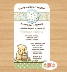 Classic Winnie the Pooh  Baby Shower Printed Invitations * Come Party With Us *