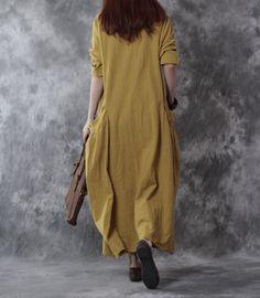 Vrouwen katoen loszittende jurk met lange mouwen