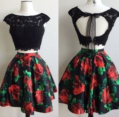 Hot Sale Comfortable Homecoming Dresses Two Piece, A-Line Prom Dresses, Prom Dresses Short, Homecoming Dresses Lace Floral Homecoming Dresses, Hoco Dresses, Black Prom Dresses, Dance Dresses, Pretty Dresses, Beautiful Dresses, Dress Black, Elegant Dresses, Sexy Dresses