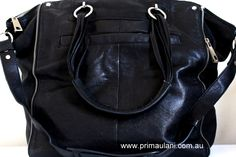 Black Leather Large 'Alison' Shopper Bag by WITCHERY