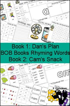 Early Reading Printables: BOB Books Rhyming Words Books 1 & 2 -- -AN & -AM Word Families - 3 part cards, cube flashcards,  playdough mats, and more - 3Dinosaurs.com