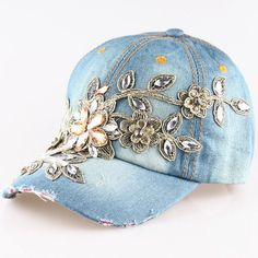 2015 New High Quality Full Crystal Floral Denim Baseball Cap Bling Rhinestone Hip Hop Adjustable