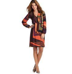 Fallllll <3 Techno Stripe Bow Neck Blouse Dress