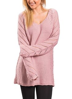 Sidefeel Women Loose V Neck Oversized Knitted Baggy Sweater Pullover Large Pink