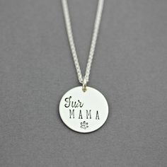 FUR MAMA NECKLACE - Hand Stamped Sterling Silver Charm Necklace by www.TinyEpicMoments.com dog and cat mom necklace jewelry  pet lover gift fur mom jewelry gift