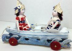 Lil' Sailors  ooak art dolls and folk art row boat by SusanHopkirk, $145.00