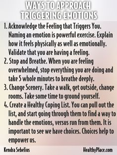 """When in recovery from an addiction, feelings and emotions can often be overwhelming. Here are 5 ways to approach triggering emotions in sobriety."" www.HealthyPlace.com"