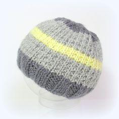 Bonnet bébé gris et jaune taille 3 mois Tricotmuse : Mode Bébé par tricotmuse