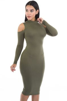 - Body-con Dress - Long Sleeve - Cutout Shoulder Details - Midi  - Stretch Fabric - Turtle-Neck - Fits True To Size