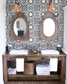 """515 Likes, 13 Comments - Cement Tile Shop (@cementtileshop) on Instagram: """"The Bristol pattern was the inspiration for this bathroom feature wall. We think you'll agree that…"""""""