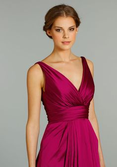 Short Length Elegant Ruched Sleeveless V-neck Taffeta Bridesmaid Dress Raspberry Bridesmaid Dresses, Taffeta Bridesmaid Dress, Bridesmaid Dresses 2014, Bridesmaid Dress Colors, Bridesmaids, Modest Wedding Gowns, Bride Gowns, Color Magenta, Magenta Wedding