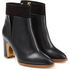 Rupert Sanderson Woodlea Leather and Suede Ankle Boots (20,210 MXN) ❤ liked on Polyvore featuring shoes, boots, ankle booties, black, black booties, black suede boots, black bootie, black leather ankle booties and ankle boots