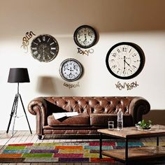 Wall of Time Chesterfield Chair, Accent Chairs, Studios, Couch, Furniture, Home Decor, Blog, Clock, Mirror