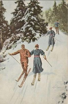 Scandinavian Paintings, Vintage Ski Posters, Cross Country Skiing, Norway, Miniature, Snow, Magic, Decorations, Mountains