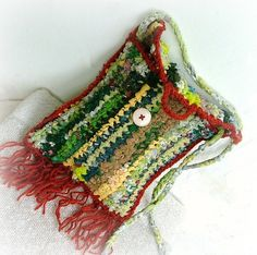 Pixie pouch - crochet upcycled carpet fairy bag - forest mist - earthy colors