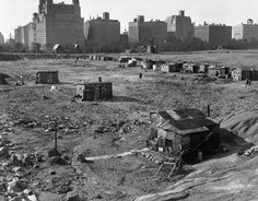 Inside the shantytowns of the Great Depression - 1933 A Hooverville in Central Park, New York City.