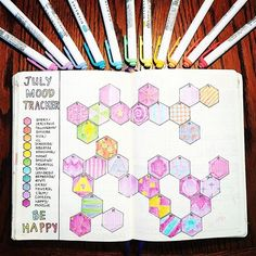Check out this moodtracker from @rainbowbulletjournal. Larger shapes allow you to track multiple moods instead of just one. Because let's be honest, who has just one mood each day? @rainbowbulletjournal ・・・ Here's how July's mood tracker turned out.#zenofplanning #showmeyourplanner